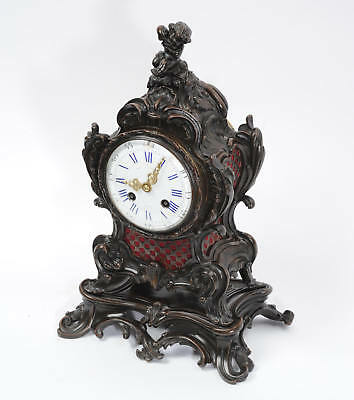 Japy Freres Antique French Bronze Rococo Table Clock Music Fully Working C1890