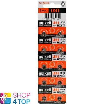 10 Maxell Alkaline Lr41 192 Batteries 1.5V Coin Cell Button Ag3 Exp 2021 New