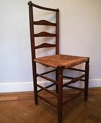 Vintage Antique 19th Century rush seated Oak ladderback side dining chair rustic