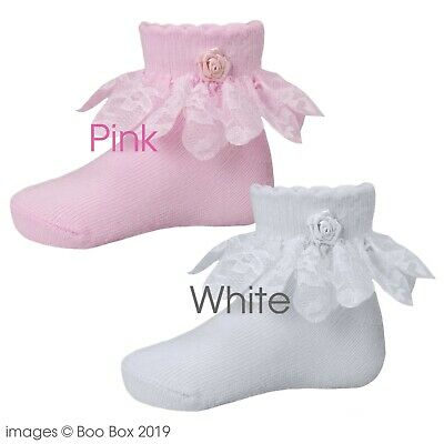Baby Girls Pink White Rose Frilly Ankle Socks Christening Party Cotton 0-18M