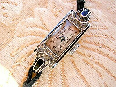 ART DECO SILVER AND MARCASITE COCKTAIL WATCH FROM 1930's ORIGINAL STRAP.