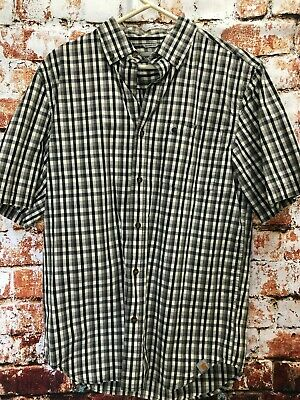 53f2ee54 Carhartt Relaxed Fit Checked Short Sleeve Button Front Mens Casual Shirt  Medium