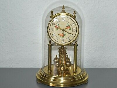 KUNDO glass dome mantle clock. Made in Germany. Brass