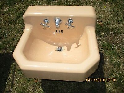 American Standard Beige Cast Iron Bath Bathroom Sink W/ Bracket Can Ship!!!!