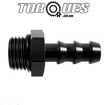 "AN -6 (AN6) ORB-6 9/16"" UNF Male To 8mm 5/16"" Barb Adapter Fitting In Black"