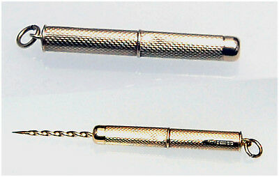 9ct Gold Toothpick / Cigar prick retractable Birmingham HM c1987 Unusual Vintage
