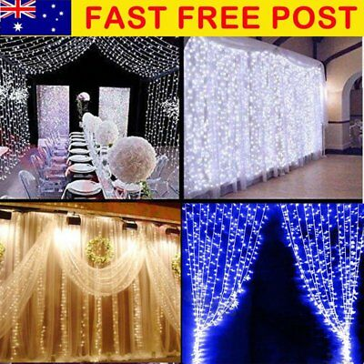 Waterfall 300/600 LED Window Curtain Lights String Fairy Light Wedding SAA