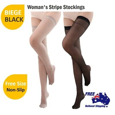 Women Sheer Stripe Top Non-slip Thigh High Stockings Hold-up Pull up Stay up