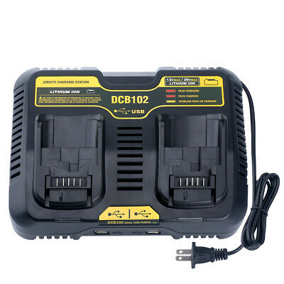 DCB102 Dual Battery Charger for DEWALT 12V-20Volt MAX Lithium DCB120 DCB200 US