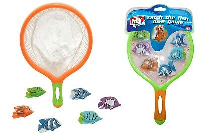 Catch The Fish Dive Game Bath Toy Kids Net & Swimming Pool Novelty Fun Game