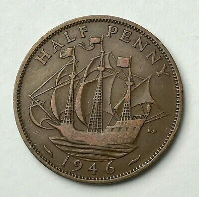 Dated : 1946 - Half Penny - 1/2d Coin - King George VI - Great Britain