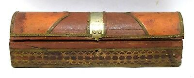Old Vintage Wooden Pencil Box Beautiful Brass Fitted Nice Decorative. i71-236 UK