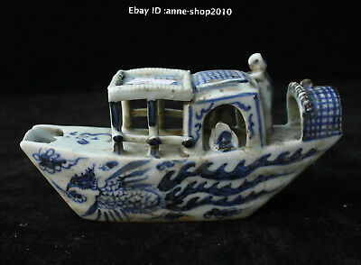 14cm Collect China Old Blue White Porcelain Pottery wallnut shell boat FFHA