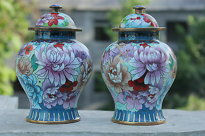 Chinese Handmade Filigree cloisonne enamel painted copper peony Pot vase pair