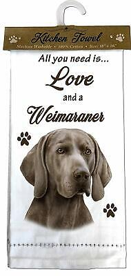 E&S Pets 700-54 Weimaraner Kitchen Towels, Off-White