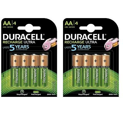 DURACELL ULTRAPOWER AA - 8 Piles Rechargeables 2500mAh 1,2V *NEUF*