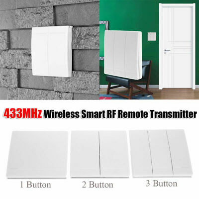 433MHz RF Wireless Remote Control Transmitter Switch Wall Panel 1/2/3 Button CN