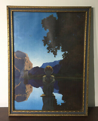 "1920'S Maxfield Parrish Color Lithograph / ""Evening"" / Art Deco Frame"