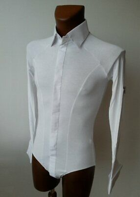 Mens Stretch Dance Shirt With Body Fitting For Ballroom Dancing, Ice Skating
