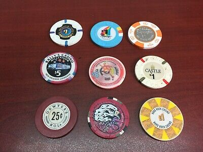 Vintage Lot of 9 Casino Gambling Poker Chips O'Dwyer's Bally's Mohegan Stardust
