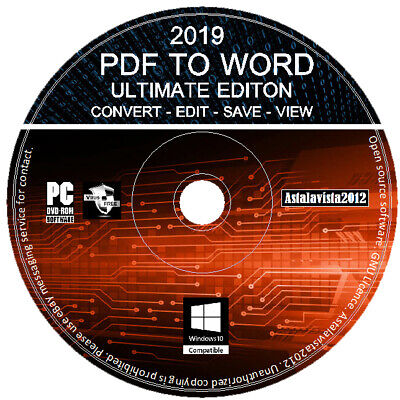 2019 Pro PDF Converter Viewer Editor Convert PDF To Word Edit Text Images PC CD