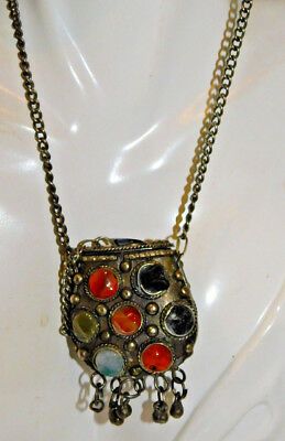 """Ethnic Silver tone Agate stone Handcrafted Purse Pendant 30"""" Chain Necklace 9k37"""
