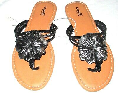 f514adc3a NEW womens CAPELLI NEW YORK thong sandals flip flops 6 black silver FLOWER  nwot