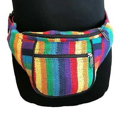 strong cotton NEW Bumbag//Waistbelt in bright RAINBOW adjustable Fair Trade
