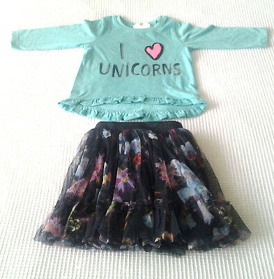 Next Baby Girls Unicorn Top & Mesh Layered Skirt Outfit Age 6-9 Months BNWT