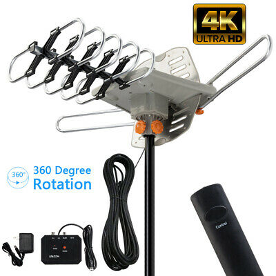 990Miles++ Outdoor Amplified Digital TV Antenna HD 4K 1080P 360°Rotation UHF/VHF
