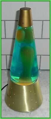 "Original Lava Lite Lava Lamp 17"" Brass Starlite Base Blue Liquid Yellow Lava"