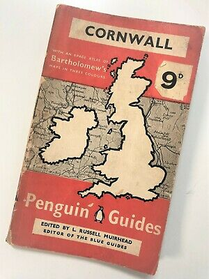 Vintage First Ed 2nd Print Penguin Guides Cornwall 1939 Touring Maps Rare G3