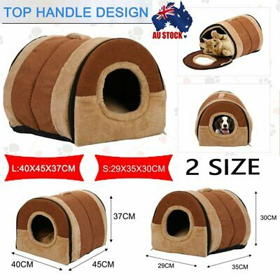 Pet Dog Folding House Kennel Soft Beds Cave Cat Puppy Bed Doggy Warm Cushion S/L