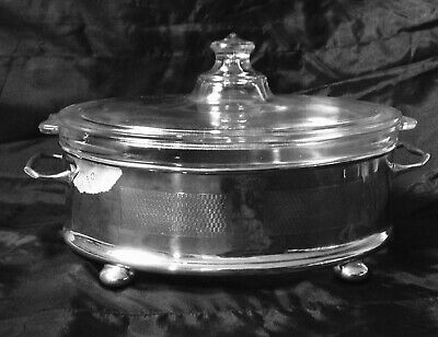 Art Deco English Silver Plated EPNS & Pyrex Serving Tureen, Dish
