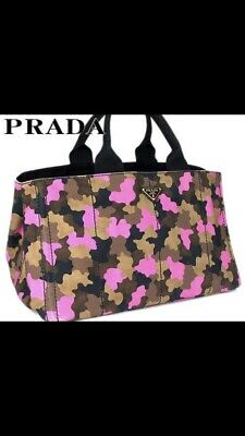 1b09cae9b8f9 AUTHENTIC PRADA CANAPA Camouflage Green Large Tote Messenger Bag ...