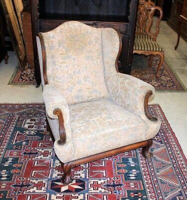 English Antique Mahogany Chippendale Upholstered Armchair Living Room Furniture