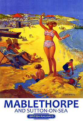 Mablethorpe And Sutton On Sea 2 Railway Vintage Retro Old Advert Poster