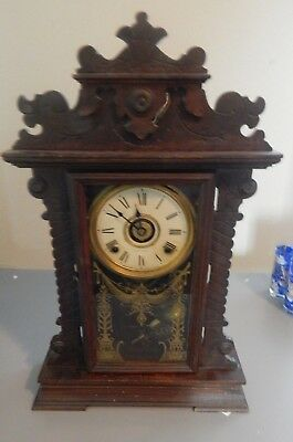 Seth Thomas Eight Day Mantel Clock 298A Antique Ornate Gingerbread Style