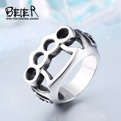Ring For Men, Brass Knuckles Gangster Punk Top Quality Stainless Steel Biker