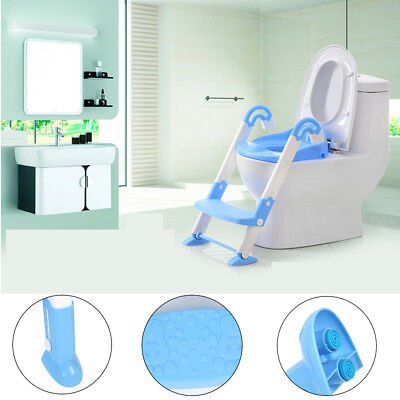 Kids Baby Child Toddler Potty Loo Training Toilet Cover Seat & Step Ladder Blue