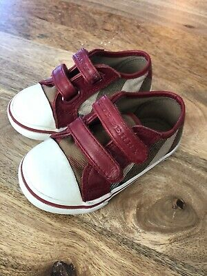 Burberry Toddler Unisex red leather check canvas shoes Size 21/ US Size 5