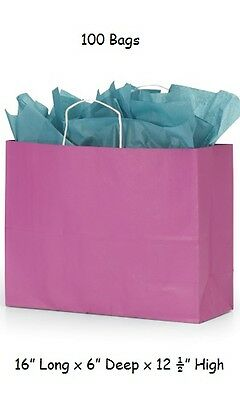 "Paper Shopping Bags 100 Hot Pink Magenta 16"" x 6 x 12 ½"" Vogue Merchandise Gift"