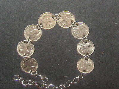 Authentic Vintage Silver Irish Ireland Celtic Harp/ Rabbit Coin Anklet Bracelet