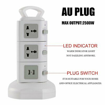 Power 11 Way Outlet Surge Protector Power Board USB Charging Phone Charger W2W