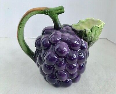 The Haldon Group Purple Majolica Grape Cluster 40 Oz Ceramic Pitcher