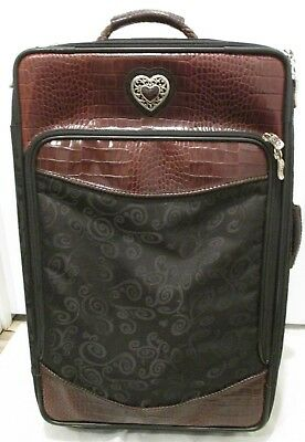 BRIGHTON 22 Rolling Suitcase in Black Swirl Fabric and Brown Faux Croc Leather