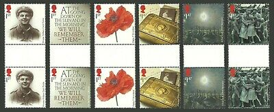 Gb 2014 The Great War Ww1 Military Poppies Flowers Gutter Pairs Set Mnh