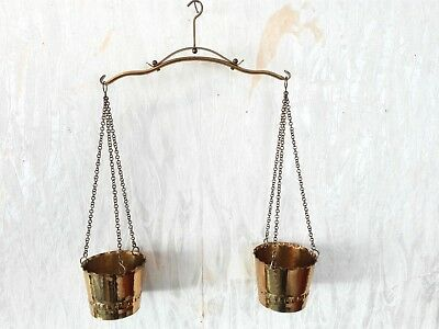 Pan Balance Scale Old collectibles Vintage Antique Brass Hanging Hammered Copper