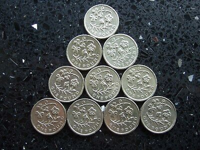 10 x FLORAL 2014 SHAMROCK & CLOVER ONE POUND COINS £1 - CIRCULATED - COIN HUNT