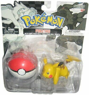 Pokemon Blanco y Negro Pikachu & Suave Pokeball Jakks Pacific Figura Set